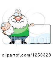 Clipart Of A Happy Caucasian Grandpa Holding A Baby By A Blank Sign Royalty Free Vector Illustration