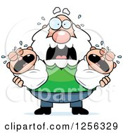Clipart Of A Stressed Caucasian Grandpa Holding Screaming Twin Babies Royalty Free Vector Illustration