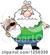 Clipart Of A Tired Caucasian Grandpa Holding A Screaming Baby Royalty Free Vector Illustration