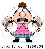 Clipart Of A Stressed Caucasian Mother Holding Twin Babies Royalty Free Vector Illustration
