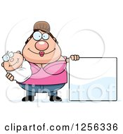 Clipart Of A Happy Caucasian Mother Holding A Baby By A Blank Sign Royalty Free Vector Illustration by Cory Thoman
