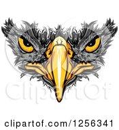 Clipart Of A Black Hawk Beak And Eyes Royalty Free Vector Illustration
