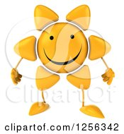 Clipart Of A 3d Happy Sun Character Royalty Free Vector Illustration by Julos