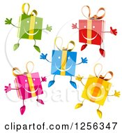 Clipart Of Colorful Happy Gift Boxes Jumping Royalty Free Vector Illustration by Julos