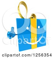 Clipart Of A 3d Blue And Yellow Gift Box Character Holding A Thumb Up Royalty Free Vector Illustration by Julos