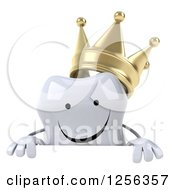Clipart Of A 3d Happy Crowned Tooth Character Over A Sign Royalty Free Vector Illustration
