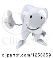 Clipart Of A 3d Happy Tooth Character Holding A Thumb Up Royalty Free Vector Illustration