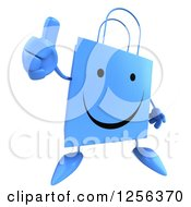 Clipart Of A 3d Happy Blue Shopping Bag Character Holding A Thumb Up Royalty Free Vector Illustration