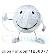 Clipart Of A 3d Happy Golf Ball Character Giving A Thumb Up Royalty Free Vector Illustration