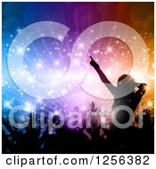 Clipart Of A Crowd Dancing At A Party Over Colorful Lights And Flares Royalty Free Vector Illustration by KJ Pargeter
