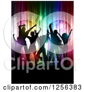 Clipart Of A Crowd Dancing At A Party Over Colorful Vertical Lights And Flares Royalty Free Vector Illustration
