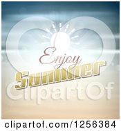 Clipart Of A Sun And Enjoy Summer Text Royalty Free Vector Illustration