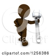 Clipart Of A 3d Brown Man Presenting A Giant Adjustable Wrench Royalty Free Vector Illustration