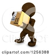 Clipart Of A 3d Brown Man Carrying A Box Royalty Free Vector Illustration