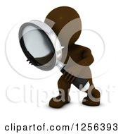 Clipart Of A 3d Brown Man Using A Magnifying Glass Royalty Free Vector Illustration