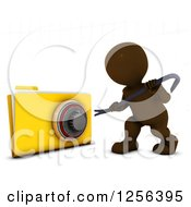 Clipart Of A 3d Brown Man Hacking Into A Secure File Royalty Free Vector Illustration
