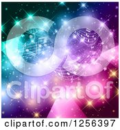 Clipart Of A Music Note Background With Colorful Lights And Flares Royalty Free Vector Illustration by KJ Pargeter