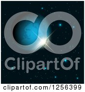 Clipart Of A 3d Fictional Earth Like Planet And Stars Royalty Free Vector Illustration