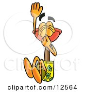 Sink Plunger Mascot Cartoon Character Plugging His Nose While Jumping Into Water