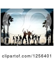 Clipart Of Silhouetted People Dancing Between Palm Trees At Sunset Royalty Free Vector Illustration by KJ Pargeter