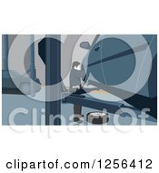 Clipart Of A Man Changing Car Tires In A Garage Royalty Free Vector Illustration by David Rey