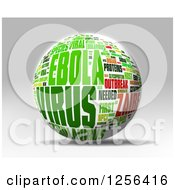 3d Green And Red Ebola Virus Outbreak Word Collage Sphere Over Gray