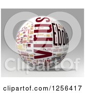Clipart Of A 3d Yellow And Red Ebola Virus Outbreak Word Collage Sphere Over Gray Royalty Free Illustration