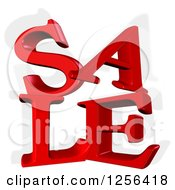 3d Red SALE Text And Shadow Over White
