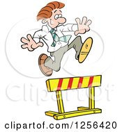 Happy Caucasian Businessman Leaping Over A Hurdle Obstacle