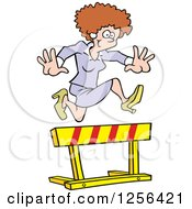 Clipart Of A Happy Caucasian Business Woman Leaping Over A Hurdle Obstacle Royalty Free Vector Illustration