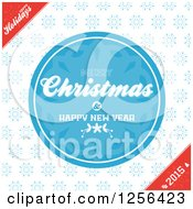 Clipart Of A Round Blue Merry Christmas And Happy New Year Snowflake Greeting With Corner Text Royalty Free Vector Illustration