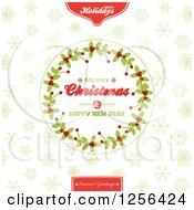 Clipart Of A Round Merry Christmas And Happy New Year Holly Wreath Over Snowflakes Royalty Free Vector Illustration