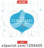 Clipart Of A Blue Merry Christmas Greeting Bauble And Snowflakes With Text Royalty Free Vector Illustration