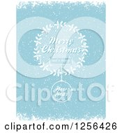 Clipart Of A Blue Merry Christmas And A Happy New Year Holly And Bauble Snow Background Royalty Free Vector Illustration by elaineitalia