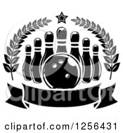 Clipart Of A Black And White Bowling Ball And Pins In A Wreath With A Banner Royalty Free Vector Illustration