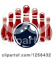 Clipart Of A Bowling Ball And Pins Royalty Free Vector Illustration