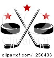 Clipart Of Crossed Ice Hockey Sticks And Pucks With Stars Royalty Free Vector Illustration