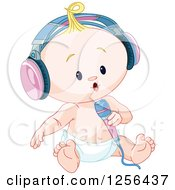 Clipart Of A Caucasian Baby Singing Into A Microphone And Wearing Headphones Royalty Free Vector Illustration