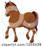 Clipart Of A Cute Brown Walking Horse Royalty Free Vector Illustration