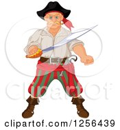 Clipart Of A Tough Blond Male Pirate Holding A Sword Royalty Free Vector Illustration by Pushkin