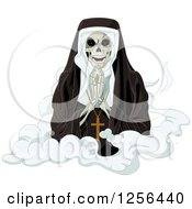 Clipart Of A Nun Skeleton Praying On A Cloud Royalty Free Vector Illustration