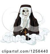 Nun Skeleton Praying On A Cloud
