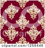 Clipart Of A Seamless Tan And Red Damask Pattern Background Royalty Free Vector Illustration