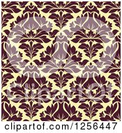 Clipart Of A Seamless Brown And Yellow Damask Pattern Background Royalty Free Vector Illustration