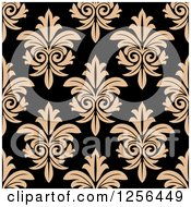 Clipart Of A Seamless Tan And Black Damask Pattern Background Royalty Free Vector Illustration