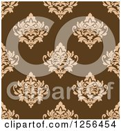 Clipart Of A Seamless Brown Damask Pattern Background Royalty Free Vector Illustration