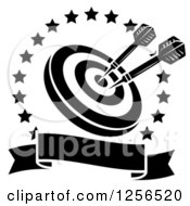 Clipart Of Black And White Darts In A Target Inside A Star Circle Over A Blank Baner Royalty Free Vector Illustration