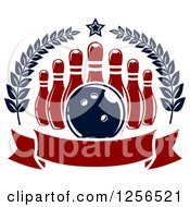 Clipart Of A Bowling Ball And Pins In A Wreath With A Banner Royalty Free Vector Illustration