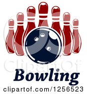 Poster, Art Print Of Bowling Ball And Pins Over Text