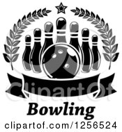 Poster, Art Print Of Black And White Bowling Ball And Pins In A Wreath With A Banner And Text